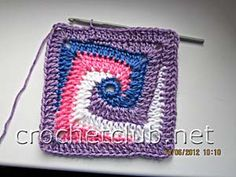 step by step pictures for this crochet spirally squary granny!!! - further explanations are google translatable!