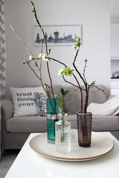 Colorful vintage glass vases. Scandinavian living room. Koti-ikävä Blog