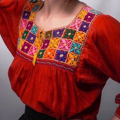 Our Noche Buena Top is a must have! The colorful embroidery and the long sleeves with yellow ties at the end are to die for! This Blouse is great for winter or fall. Floral Embroidery Dress, Kurti Embroidery Design, Hand Embroidery Flowers, Hand Work Embroidery, Embroidery Fashion, Applique Dress, Hand Embroidery Designs, Diy Embroidery, Embroidered Blouse