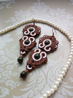 Long earrings Soutache earrings Brown white от SoutacheForTheQueen