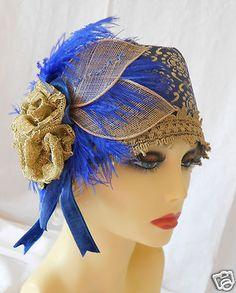 1920s Vintage Inspired Blue Turban Cloche Hat Flapper Gatsby Downton | eBay