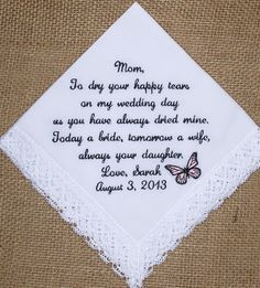 Gift for Mother of the Bride Custom Embroidered Wedding Handkerchief. $23.00, via Etsy.