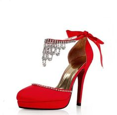 56cf1768f Newly Rhinestone Decorate Super High Heel Hot Red Strappy Sandals  Rhinestone Wedding Shoes