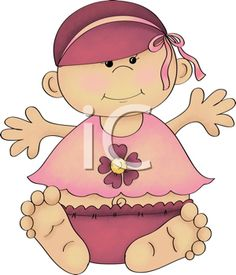 Royalty Free Clipart Image of a Baby Girl in Summer Clothes