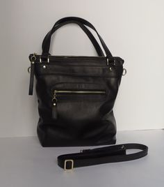 Black leather purse  leather laptop bag  handmade