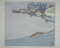 Walter Joseph Phillips, 'Norman Bay at Mayberry Fine Art Illustrations, Graphic Illustration, Japanese Woodcut, Canada Images, Costa, Watercolor Landscape, Landscape Prints, Watercolor Art, Cleveland Museum Of Art