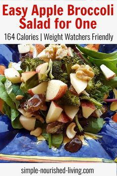 Easy Broccoli Apple & Walnut Salad for 1 is ready in about 15 minutes using fresh ingredients, just 164 calories - 3 (green, blue, purple) myWW SmartPoints!