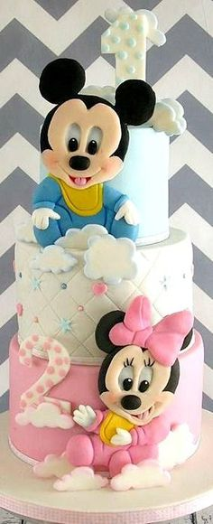 Mickey and Minnie 1st and 2nd birthday cake
