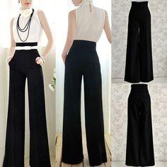 Fashion Womens OL Loose High Waist Flare Wide Leg Long Pants Palazzo Trousers | Roupas, calçados e acessórios, Roupas femininas, Calças | eBay!