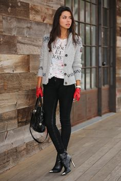 Discover this look wearing Black Zara Boots, Heather Gray True Religion Sweaters, White J Crew Ts, Shirts - Amour Et Joie by AnnabelleFleur styled for Casual, Everyday in the Winter Pretty Outfits, Fall Outfits, Fashion Outfits, Fashion Trends, Rome Outfits, Fashion Bloggers, Casual Outfits, Love Fashion, Autumn Fashion
