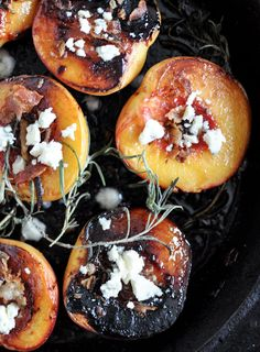 Rosemary, Bacon and Sugar Roasted Peaches | howsweeteats.com