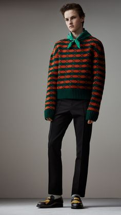 Geometric Wool Cotton Blend Sculptural Sweater in Multicolour - Men | Burberry United States