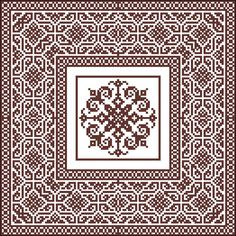 ANTIQUE SQUARE 3 filet stitch Pattern decorative ornament
