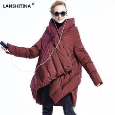 LANSHITINA 2016 New Fashion Women's Down Jacket Parka Cloaks European Designer Asymmetric Length Hooded Anorak Winter Coat Femal
