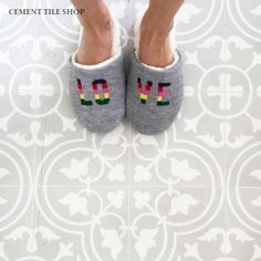 cement tile shop Bouquet II, pacific light grey
