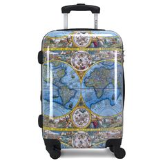 Featuring the iconic Orbis Terrarum Typus De Inegro Multis In Locis Emendatus auctore Petro Plancio 1584 print, One World brings old world exploration to modern day travel. With a polycarbonate/ABS shell, this spinner is ultra-lightweight, while also being sturdy enough to handle the roughhousing of any airport. One World also features a combined TSA-approved lock for additional security, retractable pull handle with push-button system, and 360-spinner wheels for smooth maneuverability. Hardside Luggage, Orbis, First World, Old World, Wheels, Smooth, Handle, Button