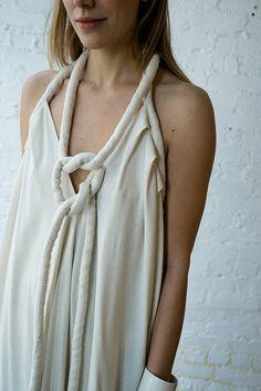 LONG INFINITE ROPE DRESS, IVORY NOIL