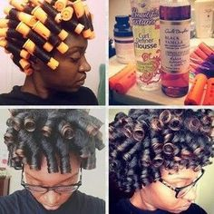 Orange perm rods on natural hair