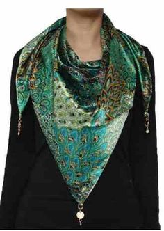 Peacock Feather Pattern Triangle Satin Scarf $12.99 www.AllThingsPeacock.com