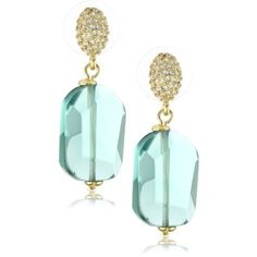 "Carolee LUX ""Rock On"" Gold-Tone Green Color Double Drop Earrings"