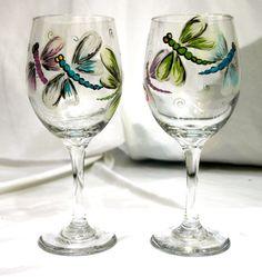 Dragonfly Glass Set via Etsy