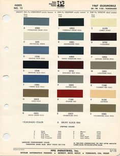 paint code on 1967 Cutlass! -