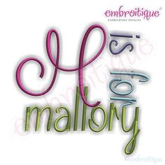 Mallory Monogram Set - 5 Sizes! | Alphabets | Machine Embroidery Designs | SWAKembroidery.com Embroitique