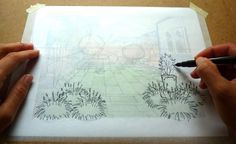 How to Create a Garden Perspective Drawing at Home Step (5)