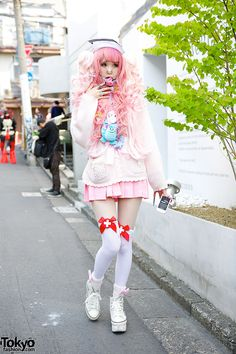 "tokyo-fashion: "" Julia on the street in Harajuku with pink hair, a pink sailor collar, a pink pleated skirt, knee socks, platform sneakers & amazing nail art. Full Look "" Pastel Goth Fashion, Kawaii Fashion, Lolita Fashion, Pink Fashion, Cute Fashion, Fashion Hair, Fashion Styles, Japanese Street Fashion, Tokyo Fashion"