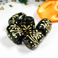 Lot of Black Vintage Flower Oval Egg Shape Loose Beads Craft Jewelry DIY B0440