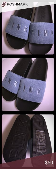 New Victoria Secret Pink Denim Slides -Small Super cute. I purchased wrong size on line and now they have sold out. PINK Victoria's Secret Shoes Sandals