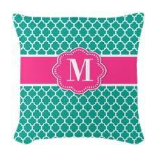 Teal Pink Quatrefoil Monogram Woven Throw Pillow
