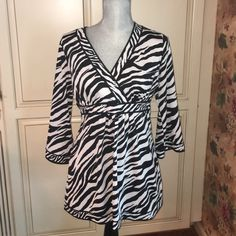 I.N.C. Zebra print top  Excellent condition. No stains or rips. Bought it but now it's to small for me. Very flattering. Smoke and pet free home. INC International Concepts Tops Blouses