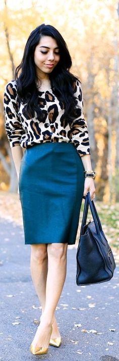 Teal pencil skirt and leopard blouse