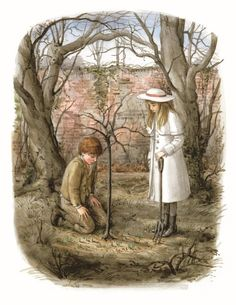 Mary and Dickon in the garden - Illustrated by Graham Rust - The Secret Garden