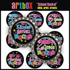 School Rocks Bottle Cap Images - INSTANT DOWNLOAD 4X6 Digital Collage Sheet - BottleCap 1 Inch Circles for Pendants, Hair Bows, Magnets on Etsy, $2.50