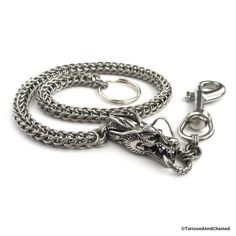 Stainless steel wallet chain with dragon head, chainmail Full Persian, men's accessories, biker wallet chain by TattooedAndChained on Etsy