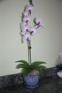 Nylon Flower White and purple Orchid by TheCallendersFlowers, $55.00
