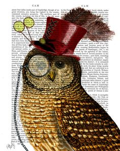 Owl with Top Hat Book Print