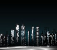 Night city skyscrapers vector material 01