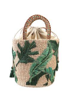 Palm Embroidered Nana Bucket Bag