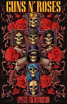 Guns n roses Appetite for destruction cover delux Arte Heavy Metal, Heavy Metal Music, Guns N Roses, Hard Rock, Concert Rock, Rock Band Posters, Vintage Concert Posters, Band Wallpapers, Music Wallpaper