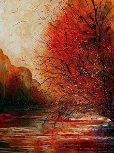 : Justyna Kopania et les couleurs de l'automne Abstract Landscape, Landscape Paintings, Painting Gallery, Amazing Drawings, Fantastic Art, Art Techniques, Art World, Contemporary Artists, Canvas Art