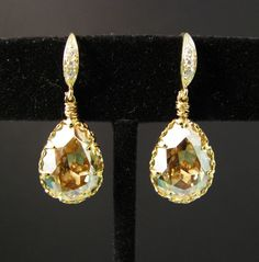 Swarovski golden shadow teardrop foiled pendant by DesignByKara, $29.00