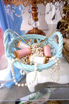 Spools of thread + crochet hooks from a Sewing supplies from a Cinderella Birthday Party via Kara's Party Ideas | KarasPartyIdeas.com (4)