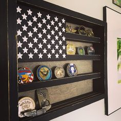 Military coin display - love the rustic look