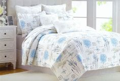 CYNTHIA ROWLEY 3pc Script Stamp Floral Butterfly Cal. King QUILT Coverlet Blue #CynthiaRowley #FrenchCountry