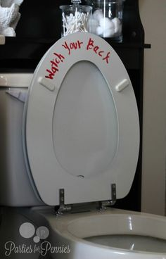 Lol….Halloween Decor – toilet message….this would be funny for everyday not just for Halloween!!! imagine the guests surprise….