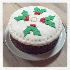 Traditional English Fruit Cake decorated with Marzipan and Fondant