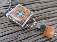 La 'Sonia' Tuscany Inspired Mini Mexican Tile Necklace by FayWestDesigns, $21.00